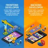 Estilo isométrico plano 3d de las aplicaciones móviles que se convierte Las banderas verticales fijaron diseño web App anticipado libre illustration