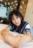 Estilo japonês da senhora 'sexy' asiática da menina do roupa interior fotos de stock