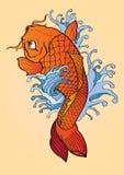 Estilo japonês da tatuagem dos peixes de Koi Imagens de Stock