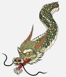 Estilo japonês da tatuagem velha do dragão Fotografia de Stock