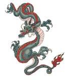 Estilo japonês da tatuagem velha do dragão Foto de Stock