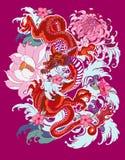 Estilo japonês da tatuagem velha do dragão Fotos de Stock Royalty Free