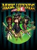 Estilo Jimi, Lemmy y Joey, cartel del cómic de las leyendas de la música Imagen de archivo