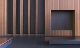 Estilo limpo vazio moderno simples da folhosa da sala e do local de trabalho/arte mínima contemporânea imagem de stock