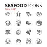 Estilo linear da coleção da ilustração do vetor do ícone do marisco Fotografia de Stock Royalty Free