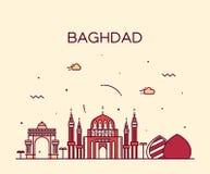 Estilo linear da ilustração do vetor da skyline de Bagdade Imagens de Stock Royalty Free