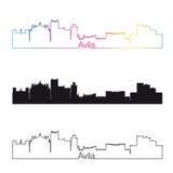 Estilo linear da skyline de Avila com arco-íris Fotografia de Stock Royalty Free
