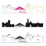 Estilo linear da skyline de Badajoz com arco-íris Imagens de Stock