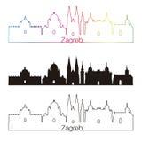 Estilo linear da skyline de Zagreb com arco-íris fotos de stock royalty free