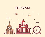 Estilo linear de la ciudad del vector de Finlandia del horizonte de Helsinki ilustración del vector