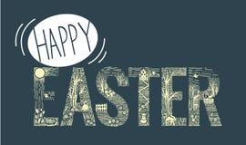 Estilo linear de la inscripción de Pascua Foto de archivo libre de regalías