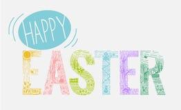Estilo linear de la inscripción de Pascua Imagen de archivo libre de regalías