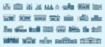 Estilo linear de los iconos del vector de los edificios determinados de la arquitectura ilustración del vector