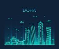 Estilo linear del ejemplo de la silueta del horizonte de Doha Imagen de archivo libre de regalías