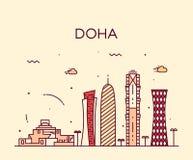 Estilo linear del ejemplo de la silueta del horizonte de Doha Imágenes de archivo libres de regalías