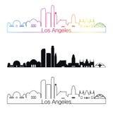 Estilo linear del horizonte de Los Ángeles con el arco iris libre illustration
