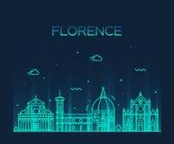 Estilo linear del vector de la silueta del horizonte de Florencia Foto de archivo libre de regalías
