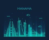 Estilo linear del vector de la silueta del horizonte de Manama Imagenes de archivo