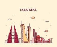Estilo linear del vector de la silueta del horizonte de Manama Fotos de archivo libres de regalías