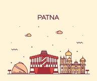 Estilo linear del vector de la silueta del horizonte de Patna libre illustration
