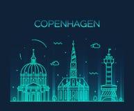 Estilo linear del vector de moda del horizonte de Copenhague Fotografía de archivo