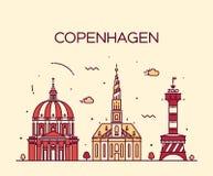 Estilo linear del vector de moda del horizonte de Copenhague Foto de archivo libre de regalías