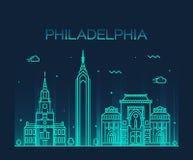 Estilo linear del vector de moda del horizonte de Philadelphia Fotografía de archivo libre de regalías