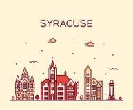 Estilo linear del vector de Nueva York los E.E.U.U. del horizonte de Syracuse ilustración del vector