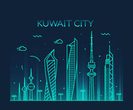 Estilo linear do vetor da silhueta da skyline da Cidade do Kuwait Foto de Stock Royalty Free