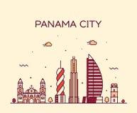 Estilo linear do vetor de Panamá da skyline da Cidade do Panamá ilustração do vetor