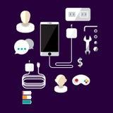 Estilo liso da bandeira de Smartphone Ilustração do vetor Foto de Stock