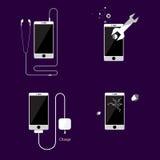 Estilo liso da bandeira do vetor do ícone de Smartphone Ilustração do vetor Imagem de Stock Royalty Free