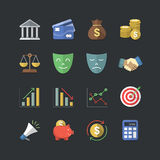 Estilo liso da cor ícones financeiros & do investimento ajustados ilustração royalty free