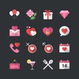 Estilo liso da cor que datam & ícones do Valentim ajustados ilustração do vetor