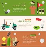 Estilo liso do projeto da bandeira do clube de golfe Vetor ilustração stock