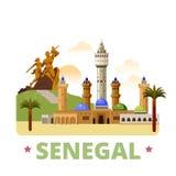 Estilo liso dos desenhos animados do molde do projeto do país de Senegal ilustração do vetor