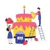 Estilo liso enorme de cozimento e de decoração dos povos pequenos de aniversário do bolo dos desenhos animados ilustração stock