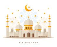 Estilo liso Sheikh Zayed Grand Mosque ilustração royalty free