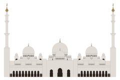 Estilo liso Sheikh Zayed Grand Mosque no fundo branco ilustração do vetor