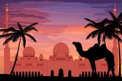 Estilo liso Sheikh Zayed Grand Mosque no por do sol ilustração royalty free