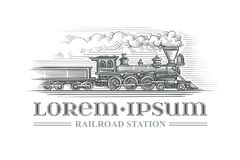 Estilo locomotor dibujado mano del grabado del vintage Vector Texto resumido Fotografía de archivo