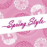 Estilo Logo Pink Ornate Flower Swirls de la primavera Imagenes de archivo