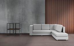Estilo mínimo de la sala de estar y pared Desing y textura Imagen de archivo libre de regalías