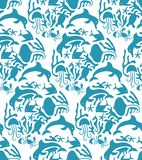 Estilo Marine Seamless Pattern de Otomi del vector Fotografía de archivo