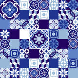 Estilo marroquino azul do fundo cerâmico do mosaico Fotos de Stock