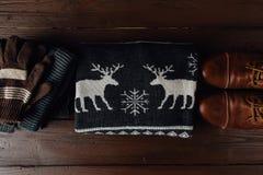 Estilo masculino del invierno en un fondo de madera marrón Imágenes de archivo libres de regalías