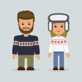 Estilo masculino y femenino del escandinavo de la ropa Imagen de archivo