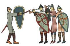 Estilo medieval de Norman Soldiers & x28; Computer& x29; arte finala ilustração royalty free