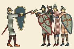 Estilo medieval de Norman Soldiers & x28; Computer& x29; arte finala ilustração stock