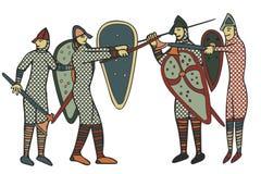 Estilo medieval de Norman Soldiers & x28; Computer& x29; arte finala ilustração do vetor